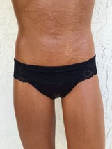 Panties For Men! Black Hip Hugger Thong Panty With Lace Top - $24.00