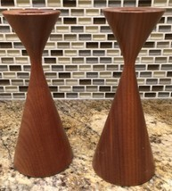 Rude Osolnik Style Candlesticks Vintage Turned Wood Mid-Century Modern - £88.78 GBP