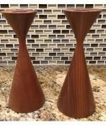 Rude Osolnik Style Candlesticks Vintage Turned Wood Mid-Century Modern - €99,94 EUR