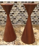 Rude Osolnik Style Candlesticks Vintage Turned Wood Mid-Century Modern - £37.06 GBP