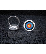 925 Sterling Silver Adjustable Ring Archery Target Bow and Arrow toxophi... - $34.65