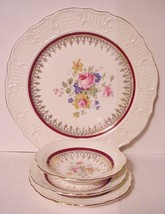 Canonsburg Pottery 4 piece Place Setting w/Gold Filigree Burgundy Stripe... - $29.95