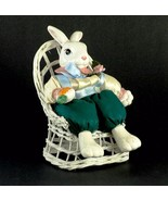FITZ & FLOYD Easter Bunny Rabbit Figure in Wicker Chair RARE with Damage - $44.00