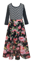Big Girls Tween 3/4 Sleeve Chevron Stripe Knit to Tier Floral Chiffon Maxi Dress