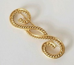 Vintage Signed Monet Gold Tone Swirl Brooch - $16.78