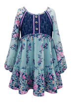 Big Girls Tween Blue Green Balloon Sleeve Floral Chiffon Casual Social Dress