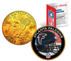 ATLANTA FALCONS NFL 24K Gold Plated IKE Dollar US Coin *OFFICIALLY LICEN... - $9.85