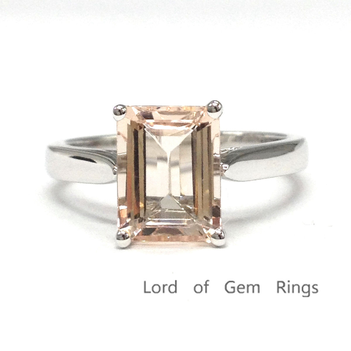 7x9mm emerald cut morganite 14k white gold engagement
