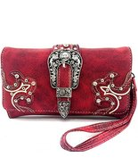 Western Buckle Rhinestone Studded Zip Around Wa... - $27.71