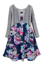 Big Girls Tween Navy-Blue Grey Ruffle Knit to Floral Chiffon Casual Social Dress