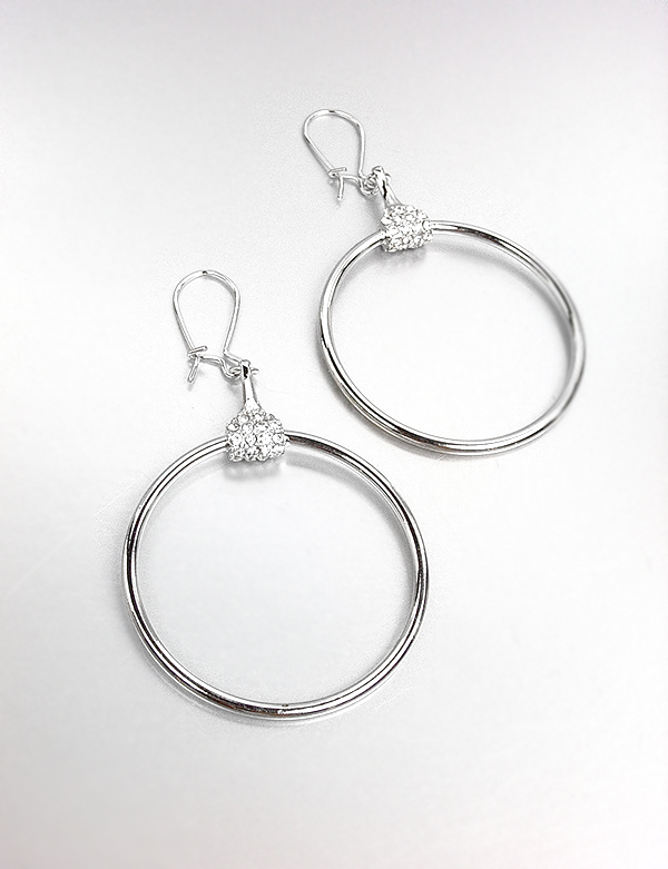 Primary image for CHIC Designer Inspired Silver CZ Crystals Horsebit Ring Dangle Earrings