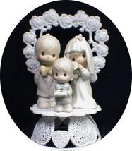 Wedding Cake Topper Precious Family Bride Groom Son Child Figurine Porce... - $123.26