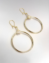 CHIC Designer Inspired Gold CZ Crystals Horsebit Ring Dangle Earrings  - $20.99