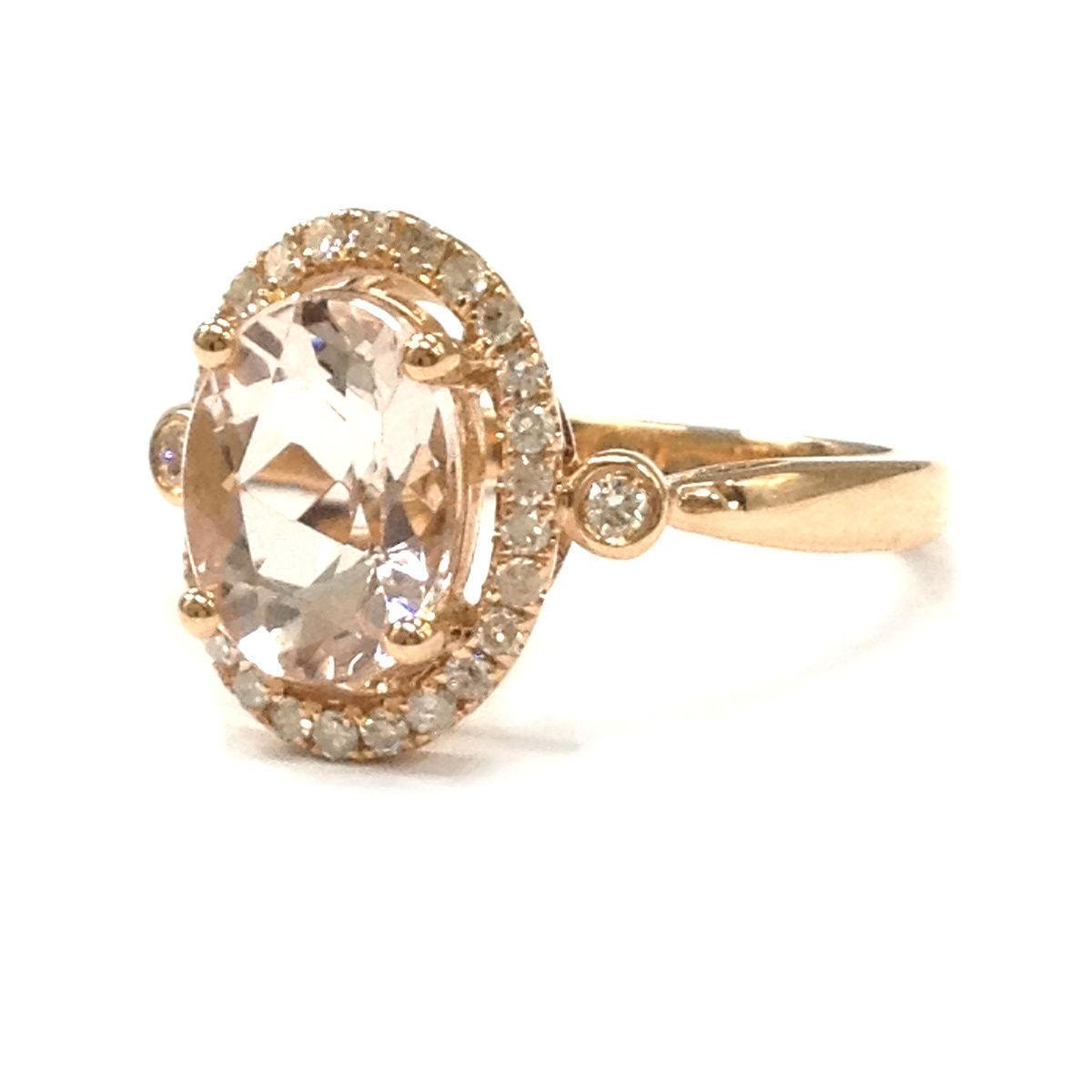 Rose Gold Morganite Oval Halo Ring