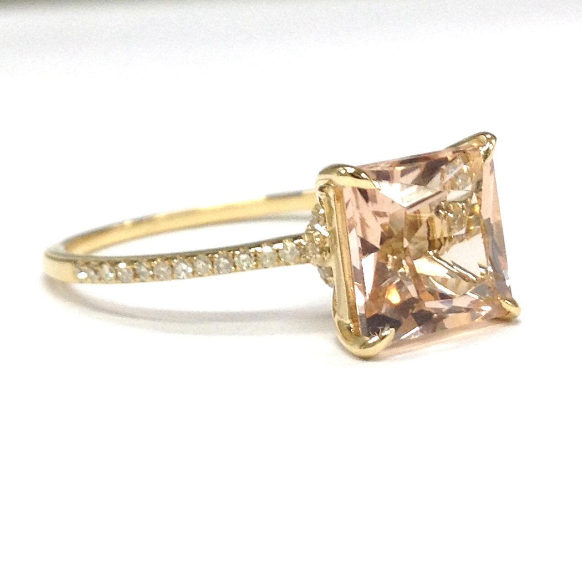 8mm princess cut morganite diamonds 14k yellow gold