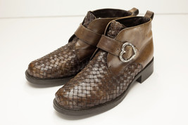 Brighton 6.5 Brown Ankle Boots Woven Uppers Hea... - $59.00