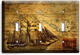 Pirate Ship Old Treasure Map Triple Light Switch Cover Boys Bedroom Room Decor - $14.57
