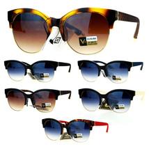 SA106 Womens Designer Luxury Half Horn Rim Diva Sunglasses - $12.95