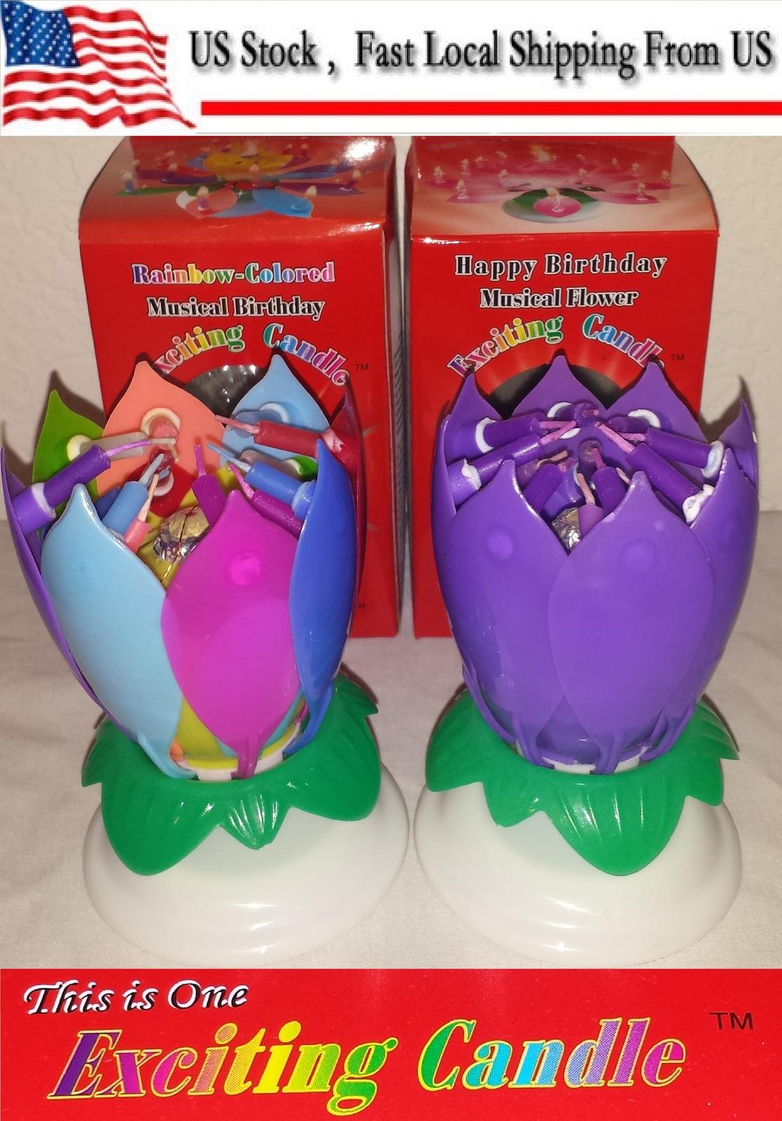 1 Rainbow + 1 Purple  Amazing Lotus Flower Music Happy Birthday EXCITING CANDLE
