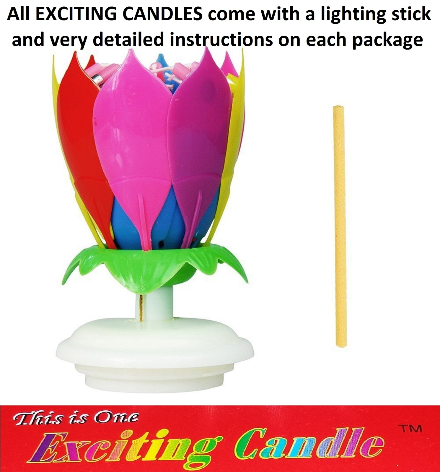 1 Rainbow + 1 Yellow  Amazing Lotus Flower Music Happy Birthday EXCITING CANDLE