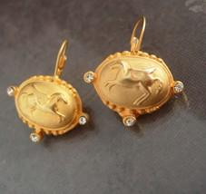 Pegasus earrings Byzantine style rhinestone winged horse sparkling golden pierce - $55.00