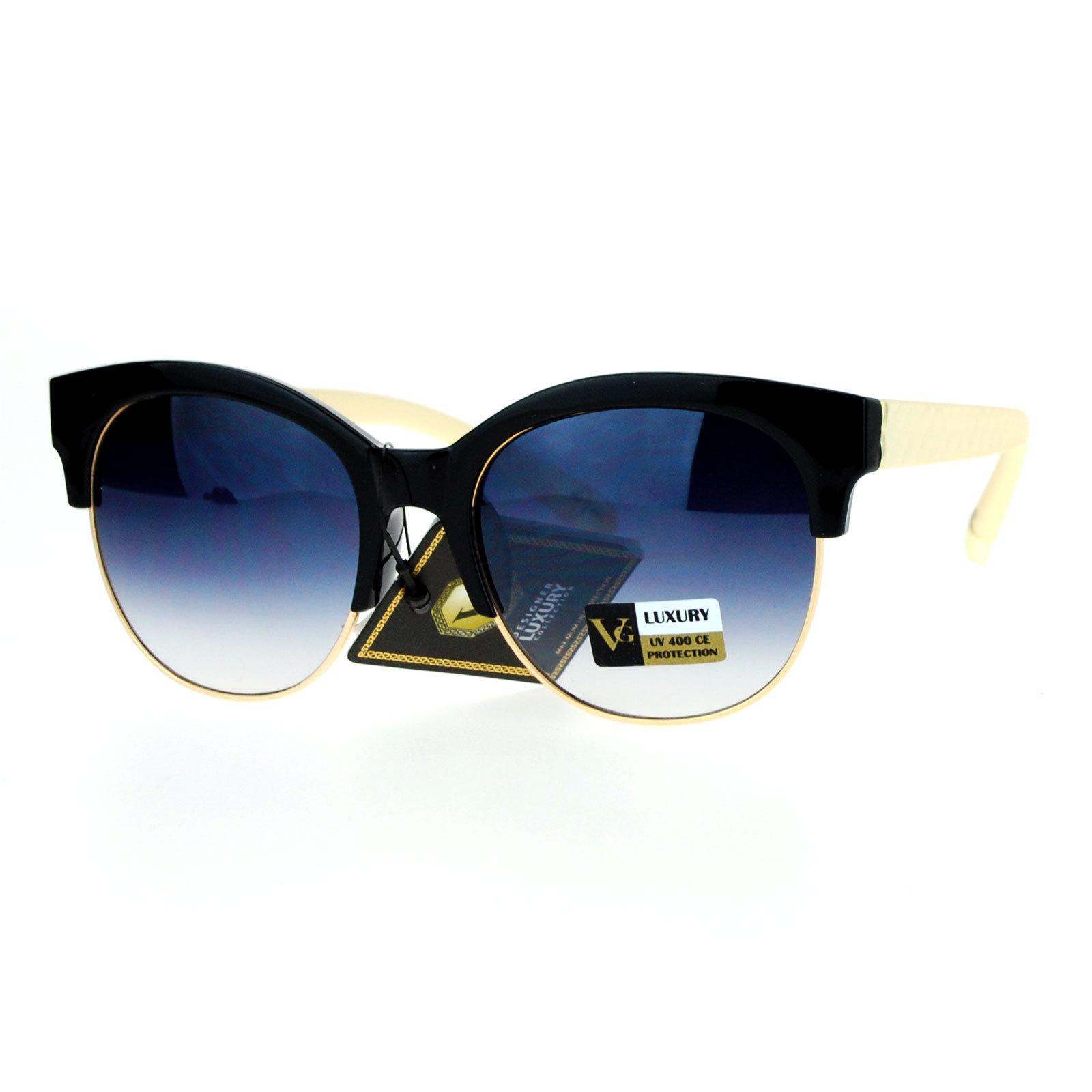 SA106 Womens Designer Luxury Half Horn Rim Diva Sunglasses