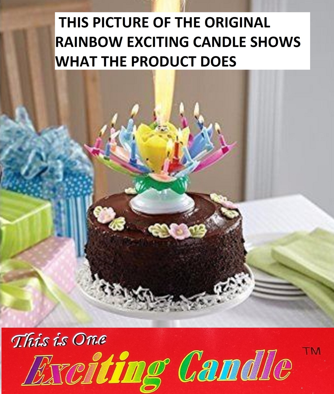 1 Rainbow + 1 White  Amazing Lotus Flower Music Happy Birthday EXCITING CANDLE