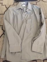 Van Heusen Gray Dress Shirt Large 16 1/2 34/35 Poplin Euc  - $3.89