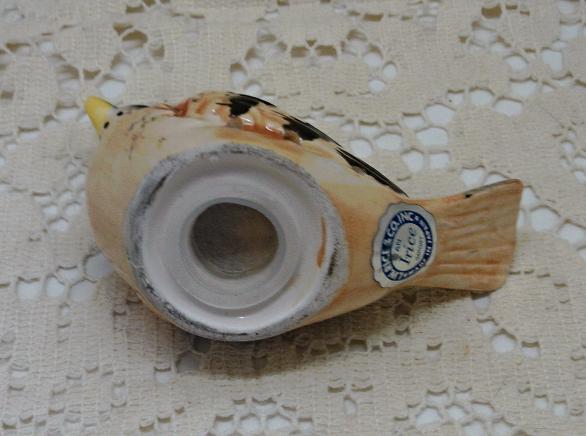 Vintage I RICE Porcelain Bird // Hanging Satchet // Pomander