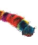 Multi-Colored Fox Fur Pom-Pom Keychain - $24.95
