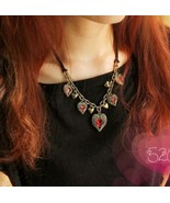 Ancient Wing Wrapped Heart Diamond Cluster Necklace - $7.99