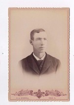 An item in the Collectibles category: Vintage Cabinet Photo Young Man Suit Tie C A Schnell Photography Toledo Ohio
