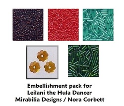 Embellishment Pack Leilani Hula Dancer Mirabilia (beads/treasure) Mill H... - $12.00