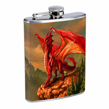 Flask 8oz Stainless Steel Dragon Design-003 Custom Skin Fantasy Drinking... - $259,89 MXN