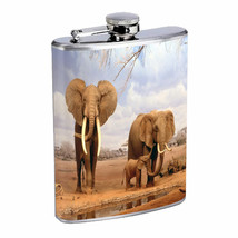 Flask 8oz Stainless Steel Elephant D8 Hip Pocket Drinking Whiskey Animals Nature - $12.82