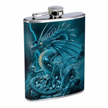 Flask 8oz Stainless Steel Dragon Design-004 Custom Skin Fantasy Drinking... - $259,89 MXN