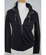 LRL Ralph Lauren Black Knit Lightweight Moto Zip Jacket Sweatshirt - Wom... - $49.01