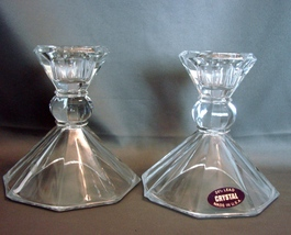 Pair of 24% Lead Crystal Candlestick Candle Holder Taper Made in USA  - $5.00