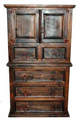 Dark Tone Rustic Bedroom - Real Wood Construction - Western - 5 Piece Set