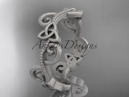 14kt white gold celtic trinity knot matte finish wedding band CT7138G - $725.00