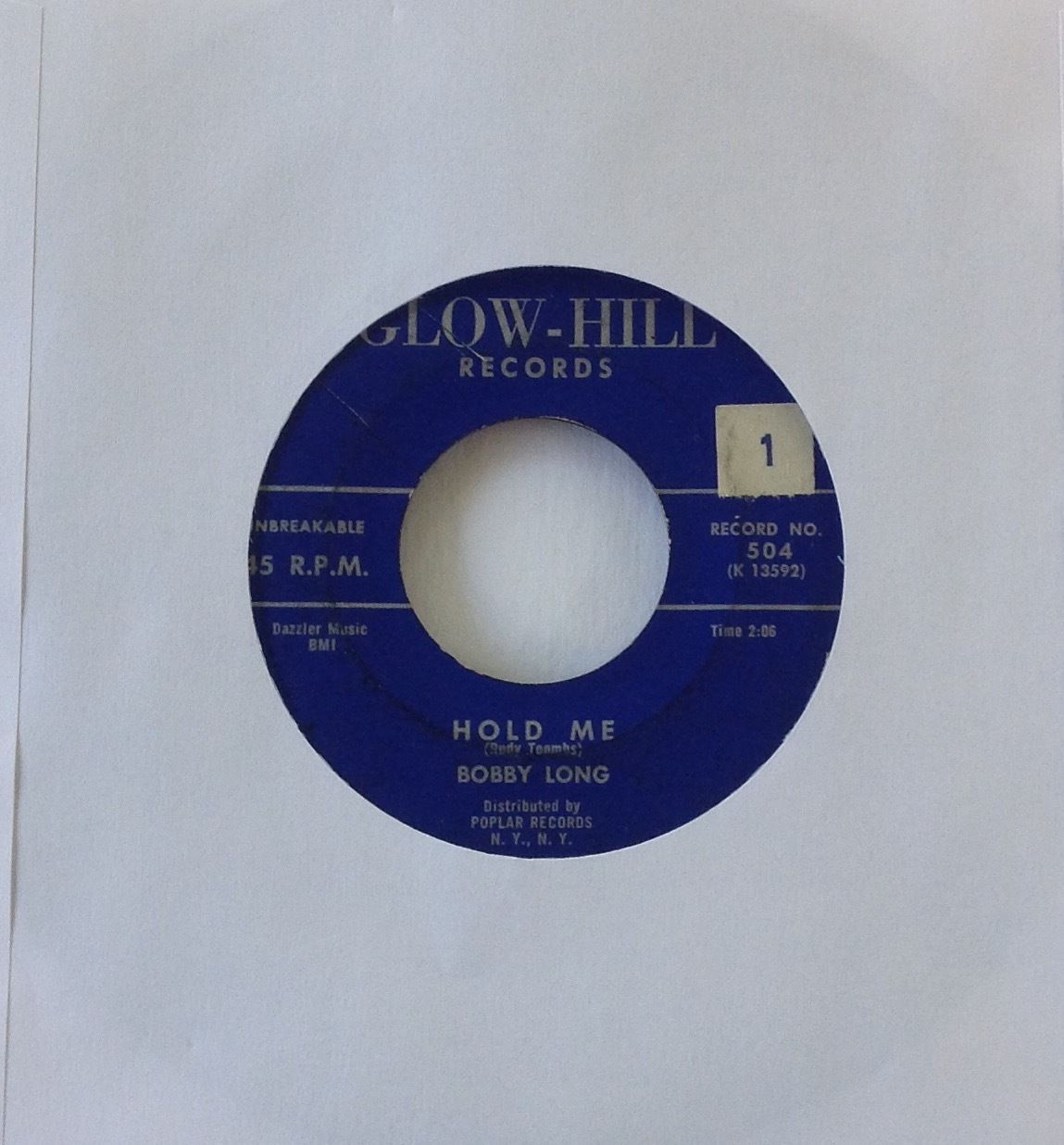 Bobby Long Hold Me Ooh La La 1958 Glow-Hill Records 504