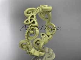 14kt yellow gold celtic trinity knot matte finish wedding band CT7138G - $725.00