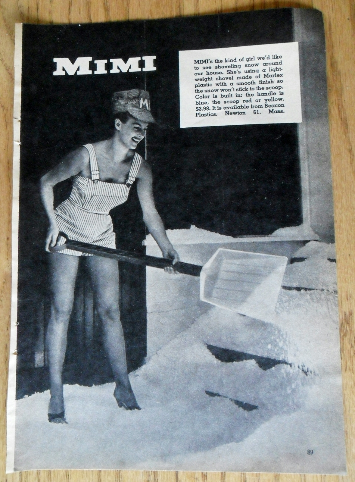 Primary image for 1960 Black & White Print Ad Beacon Plastics Mimi Sexy Lady Shorts Shoveling Snow