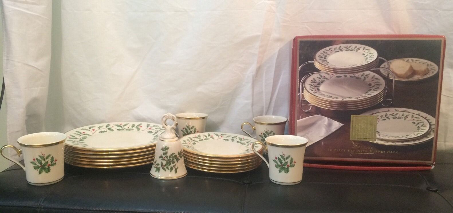 Huge Lot Lenox Holiday 12 Dinner Plates 12 Salad Plates 4 Cups Buffet Rack Bell & Huge Lot Lenox Holiday 12 Dinner Plates 12 and 50 similar items