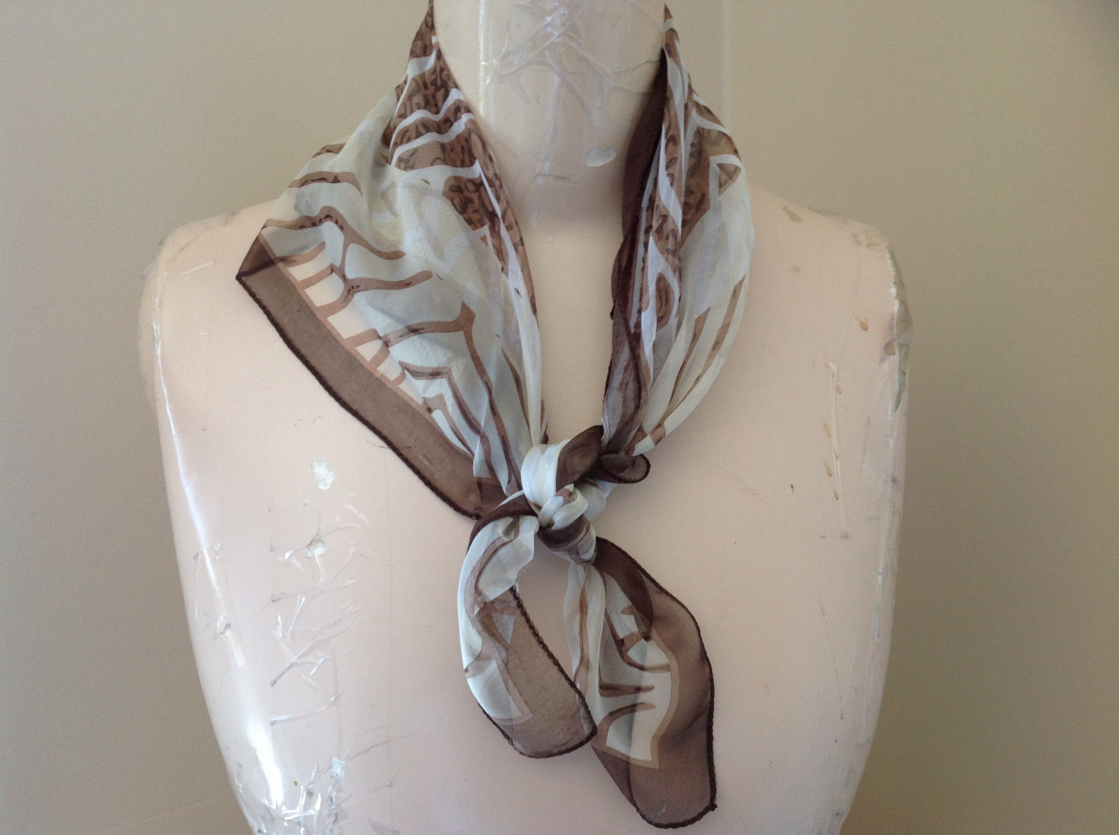 Brown Tan White Wavy Zebra Stripe Square Scarf Light Weight Material Hanfei