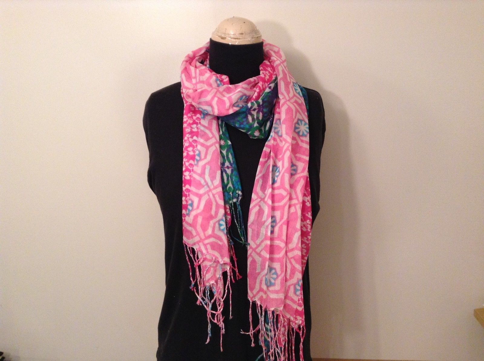 Batik Style Oblong light weight Spring Scarf w fringe  in choice of colors