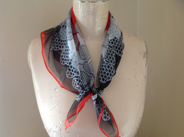 Black Red White Flowers Dotted Design Square Scarf Light Weight Material