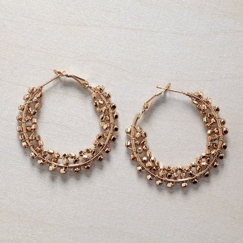 Classic Gold bead hoop earring 1 1/2 inch