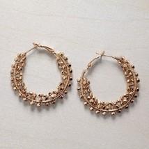 Classic Gold bead hoop earring 1 1/2 inch
