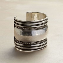 Classic Silver Tone Texture Statement Cuff w antiqued finish bands
